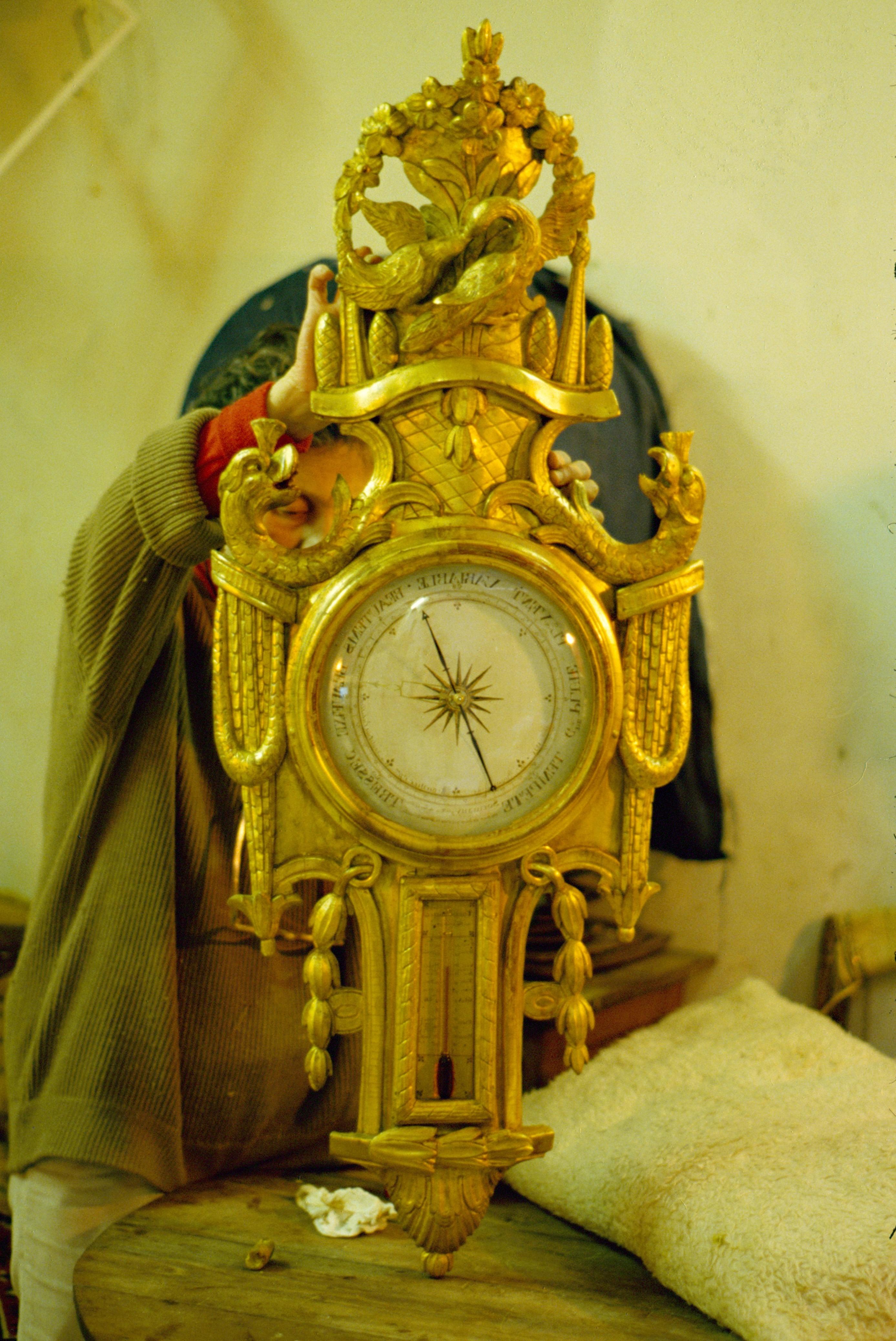 baromètre bois doré petit thermomètre
