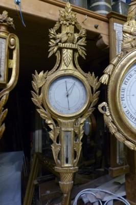 baromètre et petit thermomètre en bois doré