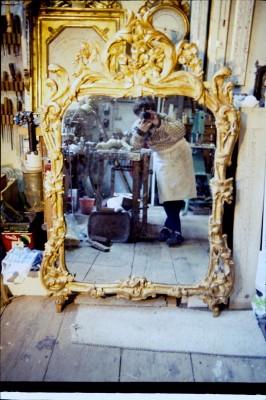 Grand miroir à fronton